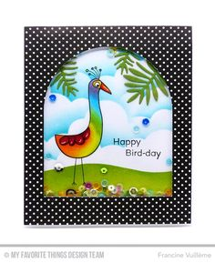 Blueprints 3 as a window opening from a piece Itsy Bitsy Polka Dots paper pack. Birds of Paradise set- I bird colored with Copic markers in rainbow colors. Sentiment from I'm Tweet on You set. Leaves from the Leafy Greenery and Wild Greenery Die-namics. I die cut them from Sour Apple cardstock. The grass was sponged with Sour Apple, Field Day and Jellybean Green dye ink. I used the Stitched Cloud Edge as a mask for the sky w distress inks.