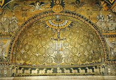 Mosaic in the apse of the century Basilica of St. Clement in Rome. It depicts the Cross of Jesus Christ as the Tree of Life Gaudi, Mushroom Wallpaper, Rome, Saint Clement, Early Christian, Albrecht Durer, Weird Creatures, 12th Century, Air France