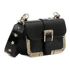 REDValentino Shoulder Bag With Stars (£500) ❤ liked on Polyvore featuring bags, handbags, shoulder bags, black, shoulder strap bags, patent purse, metallic purse, patent leather shoulder bag and buckle purses