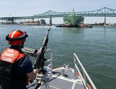 https://flic.kr/p/MtMHk5 | Coast Guard Station Boston on security patrol in Boston Harbor | Petty Officer 3rd Class Tanner King, a crewmember of Coast Guard Station Boston, is underway aboard a 45-foot response boat during a security escort in Boston Harbor, Thursday, July 21, 2016. The station's crew escorted the Norwegian-flagged LNG tanker BW GDF SUEZ Boston into a terminal in Boston. U.S. Coast Guard photo by Petty Officer 2nd Class Cynthia Oldham