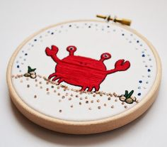 Hand Embroidery Hoop Art Crab 4 inch Wall by PixiecraftHandmade