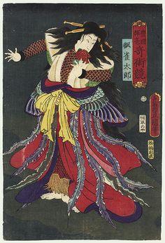 Nakamura Shikan IV as Suzume Taro, 1862 by Toyokuni III/Kunisada (1786 - 1864) http://www.fujiarts.com/cgi-bin/item.pl?item=268361#  11/16