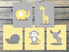 Chevron Yellow Gray Nursery Art INSTANT DOWNLOAD by Benzarina