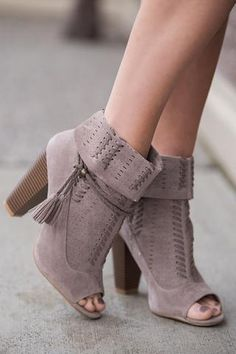 Not So Naive Braided Tassel Laser Cut Out Peep Booties (Taupe) - NanaMacs.com - 1