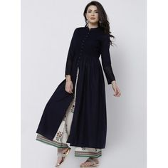 Vishudh Navy Cotton Anarkali Kurta