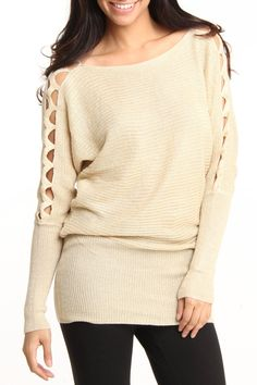 Really cute Cut Out Detail Sweater.  I like the longer length don't you?
