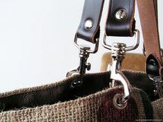 sac en cuir et toile de jute - le potager des fées. Techniques Couture, Monogram, Michael Kors, Belt, Diy, Sewing, Jeans, Fashion, Purses
