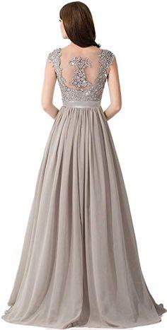 Amazon.com  Babyonlinedress Plus Size Sweep Silver Evening Gowns Silver  US16  Clothing Společenské 2d2c8f7006