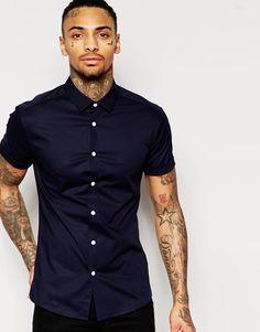 ASOS Skinny Shirt In Navy With Short Sleeves