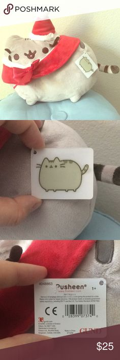 Official Gund Santa Pusheen Mew, mew, mew!   NWT Santa 'Sheen plushie toy. Holographic tag still attached.  #cat #gray #grey #kitty #feline #gund #toy #santa #christmas Gund Other