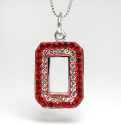 Sterling Silver & Swarovski Crystal Pendant with Chain (Red with White Liner)