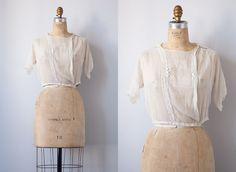 vintage 1920s blouse / antique 1910s 1920s blouse / romantic Downton Abbey sheer blouse. $58.00, via Etsy.