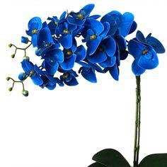 Arranjo de Flores Artificiais Orquideas Azul Cachepot de Madeira 55x20 cm