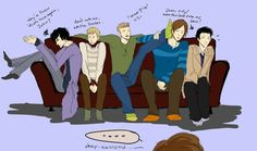 Somehow I think it's just a bit dangerous putting all these guys on the same sofa...[I don't watch Supernatural but this is hilarious. XD]