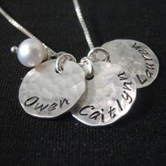 Hand Stamped Mommy Necklace - Three Loves - personalized mothers necklace with pearl. $39.00, via Etsy.