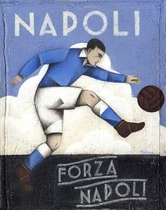 "Limited edition print of the original painting ""Forza Napoli"" by Paine Proffitt. Size: wide x high cm including frame. If not in stock, these unique prints are printed to order, please leave 2 weeks for delivery. Football Icon, Football Art, School Football, Vintage Football, Vintage Tattoo Design, Image Foot, Soccer Photography, Association Football, Soccer Poster"