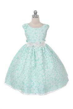 Beautiful Organza Floral Burnout Little Girl Party Dress (FREE SHIPPING)