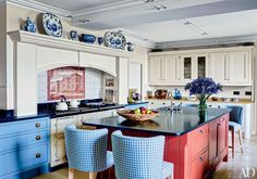 Traditional Kitchen by Mark Gillette in Burley on the Hill, England - The kitchen of this English home is outfitted with an Aga range Modern Farmhouse Kitchens, Black Kitchens, Home Kitchens, Colorful Kitchens, Architectural Digest, Black Kitchen Countertops, Kitchen Backsplash, Backsplash Ideas, Kitchen Island