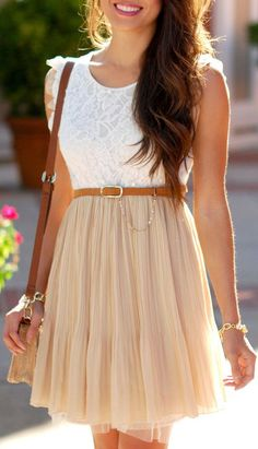 Pleated Lace Tulle Dress ♥