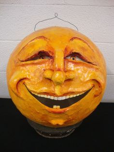 "OOAK Huge 16"" Man in the Moon Vintage Look Halloween folk art Lantern   eBay"