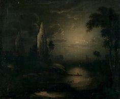 "hourglassofblacktears: "" Unknown Artist (British School) - Ruins in Moonlight (19th century) """