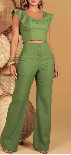 Two Piece Outfits Pants, Pants Outfit, Business Casual Outfits, Classy Outfits, Fashion Pants, Fashion Dresses, Jumpsuit Dressy, Fashion Vocabulary, Jumpsuits For Women