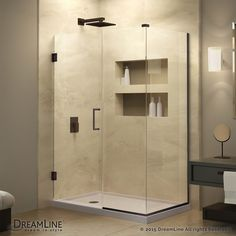 Unidoor Plus 30-3/8-inch x 53-inch x 72-inch Hinged Shower Enclosure with Hardware in Oil Rubbed Bronze