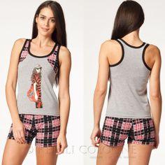 KEFALI Damen Hausanzug Pyjama Set Schlafanzug Homewear Hotpant Top Shirt 36 38