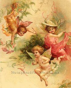 Fairy Children ~ Vintage Victorian ~  Cross Stitch Pattern Fairies Babies #StoneyKnobFarmHeirlooms #FramedPicture