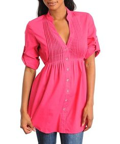 NWT WOMENS DANNIS PLACE SMALL MEDIUM LARGE PINK FUCHSIA BUTTON LONG TOP SHIRT