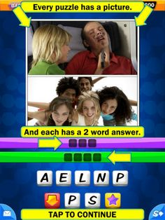 """Just 2 Fun ($1.99) a fabulous, extensive set of puzzle (over 300!) centered around the vocabulary and interests of young people. The picture is the clue. And every puzzle's answer is just 2 words -- a common pairing (""""BUZZ OFF""""), a famous character's name (""""SNOW WHITE""""), or a fun word combination that is forehead-slapping obvious after you figure out David's clues!"""