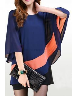 Casual Layer Sleeve Patchwork Chiffon Plus Size Girl's Summer T-Shirts on buytrends.com