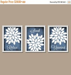 ❘❘❙❙❚❚ ON SALE ❚❚❙❙❘❘     ★Blue BATHROOM WALL Art, Canvas or Prints, Relax Soak Unwind Quote, Bathroom Artwork, Flower Burst Pictures, Set of 3 Home Decor  ★Includes 3 pieces of wall art ★Available in PRINTS or CANVAS (see below)  ★SIZING OPTIONS Available from the drop down menu above the add to cart button with prices. >>>  ★PRINT OPTION Available sizes are 5x7, 8x10, & 11x14 (inches). Prints are created digitally and printed with UltraChrome Hi-Gloss ink on professional 68lb s...