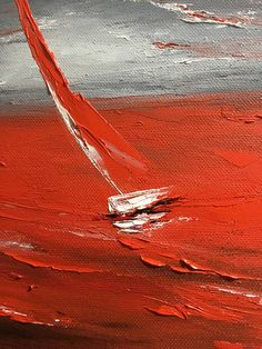 Sailboat Painting Storm On Canvas Small Abstract Seascape