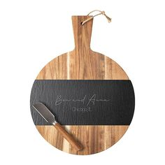 Complete your entertaining collection with this Slate and Acacia Charcuterie Board. The wooden board is accented by a piece of natural slate. Add custom engraving to make it truly unique. Board comes with a cheese knife to make it a set Personalized Housewarming Gifts, Cheese Knife, Lazy Susan, Charcuterie Board, Wooden Diy, Custom Engraving, Acacia, Slate, House Warming
