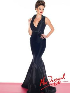 Mac Duggal Black White Red Dress - 82063R  Great Pageant dress or Prom dress!  Elegant and sophisticated gown for a gala too!