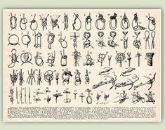 Marine Knots Print, LARGE SIZE A3, Sailor knots, Seaside Prints, Marine Wall Decor,  Nautical art. $25.00, via Etsy.