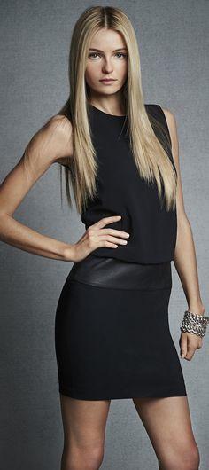 Ralph Lauren - Black Label Leather-Trim Tye Dress