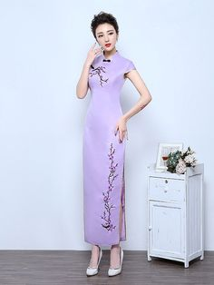 Purple Ankle-Length Qipao / Cheongsam Wedding Dress with Floral Embroidery