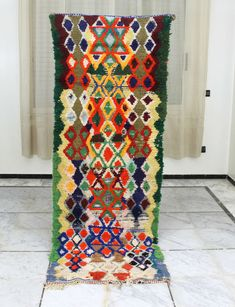 Excited to share this item from my shop: Boucherouite rug, Handmade in Morocco, this is a vintage master piece. Size: x / 236 cm x 85 cm Handmade Rugs, Handmade Gifts, Painted Paper, Berber Rug, Beni Ourain, Morocco, Rug Size, Vintage Rugs, Bohemian Rug