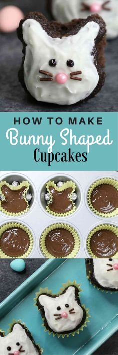 Super Easy Easter Bunny Cupcakes– made using a muffin tin and foil or marbles, easiest trick ever! A cute and simple recipe that turns brownie into bunny shaped cupcakes, with only a few ingredients: brownie mix, icing and decorating sprinkles. Great for Easter parties, brunch, dessert or an afternoon snack! Party food, party dessert recipes. Video recipe. | http://Tipbuzz.com