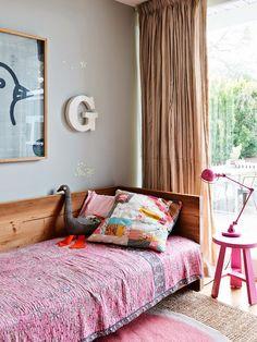 wooden bed frame & Kantha