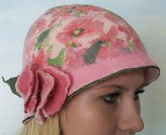 Nuno Felted Hat  Strawberry Fields Art To Wear Hand by beatassoul