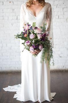 Organic Wedding Bouquet - Vanessa Anne Photography #organicbouquet #celestialwedding #weddinginspiration #sponsored #weddings #ultraviolet #cosmicwedding #weddings #purple #weddingbouquet #boquet