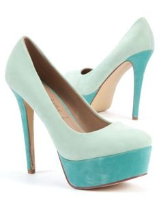 Mint Green (Green) Mint Green and Blue Colour Block Platform Court Heels | 250441537 | New Look