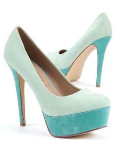 Mint Green (Green) Mint Green and Blue Colour Block Platform Court Heels | 250441537 | New Look