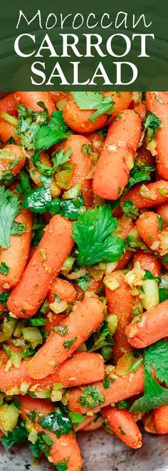 An all-star recipe for Moroccan carrot salad with cilantro, warm spices & a light dressing of lemon juice & olive oil. Healthy and delicious crowd pleaser!