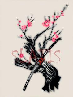 For this one i've chosen a sakura tree which represents the ephemeral aspect of life, and a katana swor. Sakura and Katana Dope Tattoos, Tribal Tattoos, Tatoos, Asian Dragon Tattoo, Tatoo Designs, Katana Swords, Samurai Tattoo, Custom Tattoo, Japanese Art