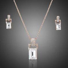 Rectangle Crystal Necklace & Earrings Set  #rings #necklace #fashion #jewelry #dresses #earrings #womensfashion #women #khaista