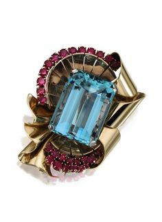 two-color gold, aquamarine and ruby brooch, circa 1940.